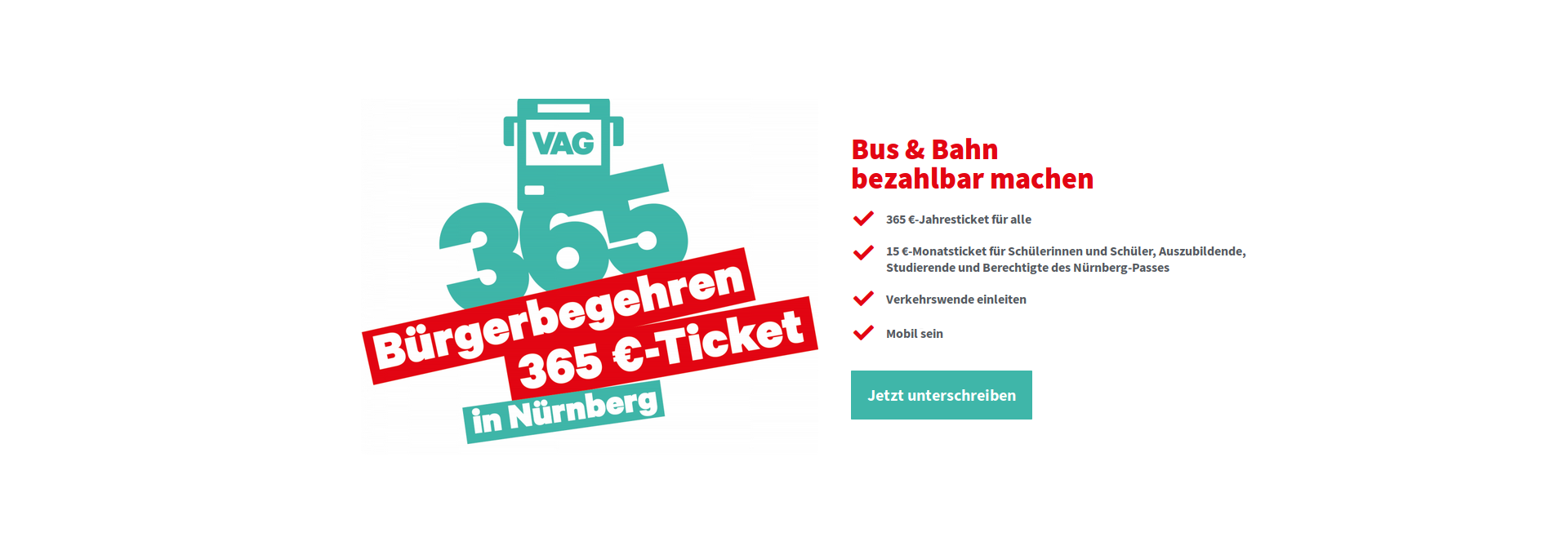 Bür­ger­be­geh­ren 365 € — Ticket gestar­tet