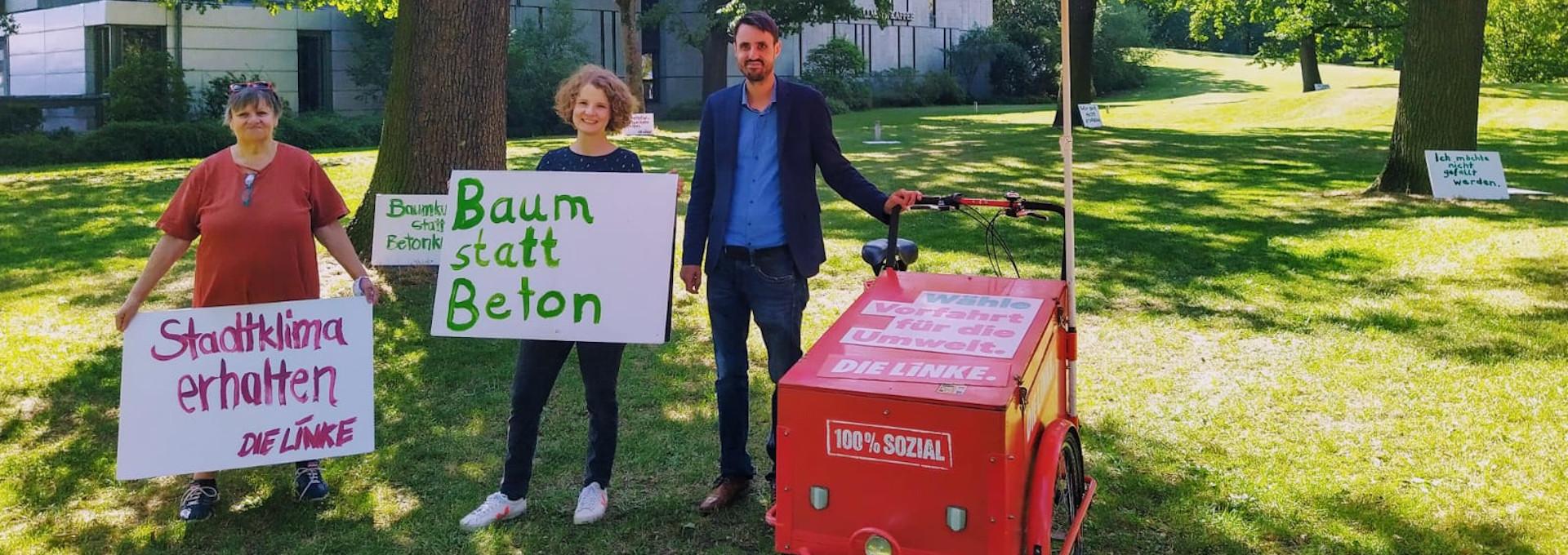 Angelika Lüdemann, Kathrin Flach und Titus Schüller bei der Aktion