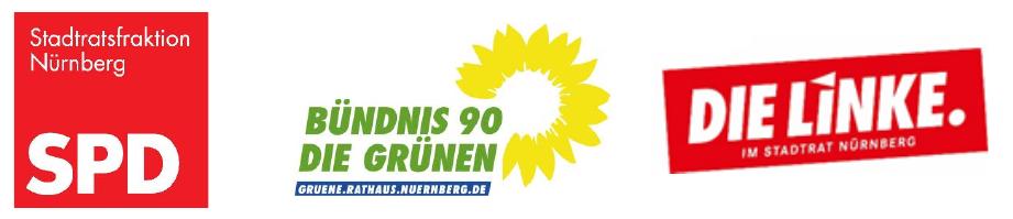 Logos der Stadtratsfraktionen SPD, Grüne, Linke